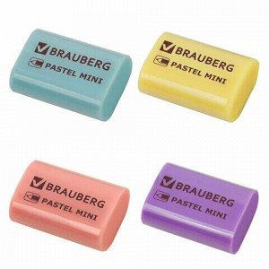 """Ластик BRAUBERG """"Pastel Mini"""", 27х18х10 мм, ассорти пастельных цветов, экологичный ПВХ, 229581"""