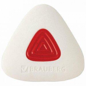 """Ластик BRAUBERG """"Trios PRO"""", 36х36х9 мм, белый, треугольный, красный пластиковый держатель, 229559"""