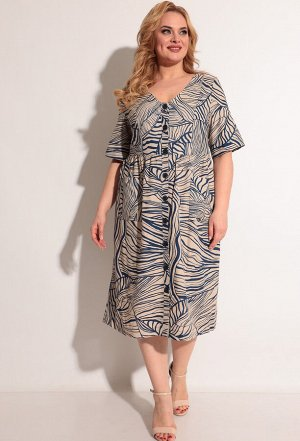 Платье Michel Chic 2004 бежево-синий