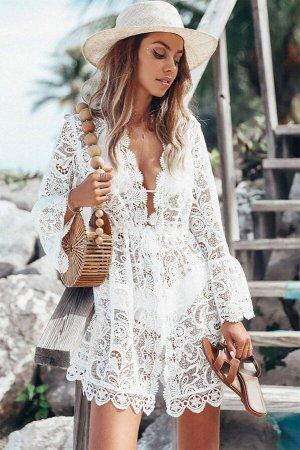 Белое кружевное пляжное платье с цветочной вышивкой