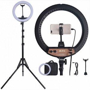 Кольцевая LED лампа Ring Light ZB-R14 35см 36W на штативе 2 метра с держателем для телефона селфи кольцо блогера