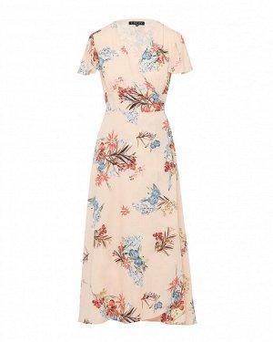 Платье жен. (006815) бежево-розово-зеленый