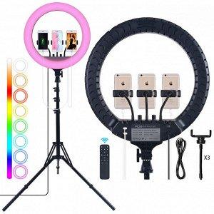 Цветная кольцевая лампа ZB-F458 RGB LED Dance диаметром 45 см с тремя держателями, пультом и штативом