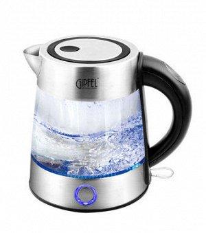 2010 GIPFEL Чайник электрический 1,0л со светодиодной подсветкой. Материал: боросиликатное стекло, нерж. сталь 18/10, пластик