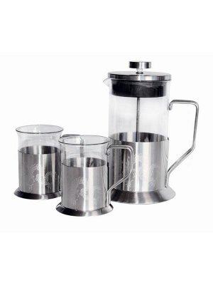 7127 GIPFEL Набор: стеклянный заварочный чайник с поршнем 600 мл , 2 кружки 200 мл., 2 новогодние свечи
