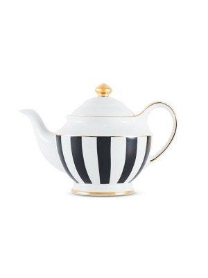 3952 GIPFEL Чайник заварочный MODERN 1200мл. Материал: костяной фарфор. Цвет: белый/черная полоска