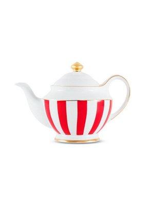 3953 GIPFEL Чайник заварочный MODERN 1200мл. Материал: костяной фарфор. Цвет: белый/красная полоска