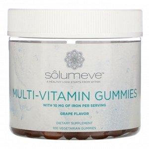 Solumeve, Мультивитаминные жевательные таблетки, без желатина, вкус винограда, 100 вегетарианских жевательных таблеток