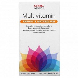 GNC, мультивитамины для женщин, поддержка выработки энергии и метаболизма, 180 капсул