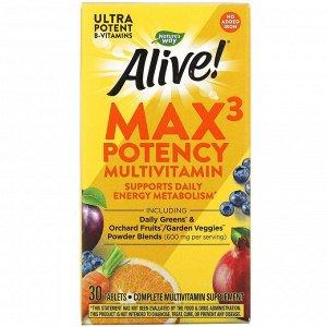 Nature's Way, Alive! Max3 Potency, мультивитамины повышенной эффективности, без добавления железа, 30 таблеток