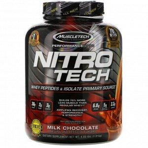 Muscletech, NitroTech, основной источник пептидов и изолятов сывороточного белка, молочный шоколад, 1,81 кг (4,00 фунта)
