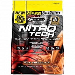 Muscletech, Nitro Tech, сывороточные пептиды и изолят сыворотки, средство для наращивания сухой мышечной массы, сывороточный протеин в порошке, со вкусом молочного шоколада, 4,54 кг (10 фунтов)