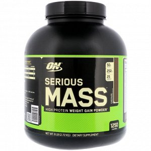 Optimum Nutrition, Serious Mass,High Protein Gain Powder, Chocolate, 6 lbs (2.72 kg)