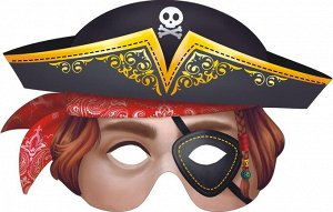 """Картонная маска """"Пират"""" на резинке"""