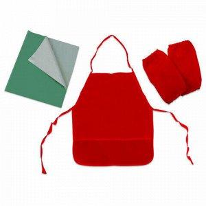 Набор для уроков труда ПИФАГОР: клеёнка ПВХ зеленая, 69х40 см, фартук и нарукавники красные, 227061