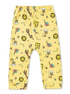 Штанишки ЦВЕТ: Жёлтый; РИСУНОК: Зверята; СОСТАВ: Хлопок 100%; МАТЕРИАЛ: Интерлок Прекрасные штанишки на широкой вшитой резинке. Симпатичный набивной рисунок, удобные манжеты по низу штанин. Изготовлен