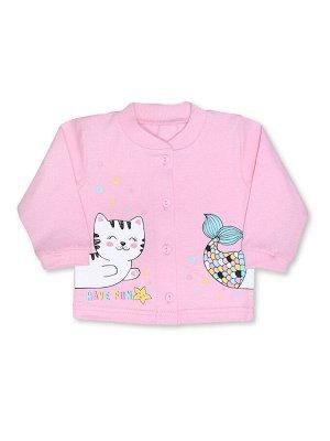 Кофточка ЦВЕТ: Розовый светлый; РИСУНОК: Котик; СОСТАВ: Хлопок 100%; МАТЕРИАЛ: Кулирка Симпатичная кофточка для вашей малышки. Кофточка застёгивается на пуговки впереди, на полочке - очаровательный пр