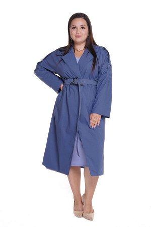 Тренч-5025 Материал: Плащевая ткань; Цвет: Синий; Фасон: Тренч; Длина рукава: Длинный рукав; Параметры модели: Рост 168 см, Размер 54 Тренч женский синий Стильный тренч оверсайз из мягкой плащевой тка