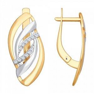 Серьги из золота с фианитами  арт 0019