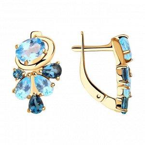 Серьги из золота с голубыми и синими топазами арт с-1438