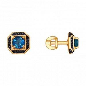 Серьги из золота с синими топазами и чёрными фианитами арт с-1298
