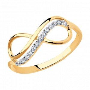 Кольцо бесконечность из золота с фианитами арт кз-138