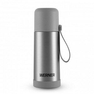 50174 WERNER Термос вакуумный URBAN с пробкой клапанного типа, крышкой-чашкой, с силиконовым шнурком и нескользящей силиконовой основой, 350мл. Материал: нержавеющая сталь, пластик, пищевой силикон. Ц