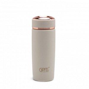 8238 GIPFEL Термос вакуумный PREMIUM 420мл. Материал: нерж сталь 18/10, пластик, термопластичная резина. Цвет: белый