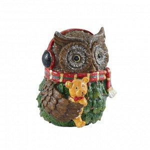 41791 GIPFEL Статуэтка декоративная OWL. Высота 15 см. Цвет: коричн с декором., материал: полирезина