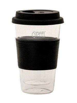 7149 GIPFEL Стакан кофейный с двойными стенками 300мл, силиконовой крышкой и держателем. Материал: боросиликатное стекло. Цвет: черный.