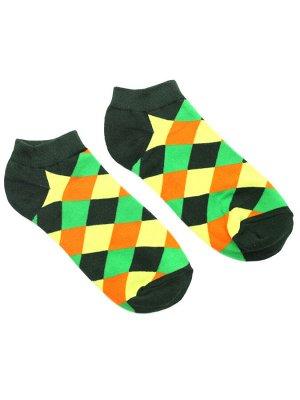 "Короткие носки Р. 37-44 ""Cell"" жёлто-зеленые"
