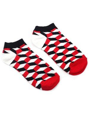 """Короткие носки Р. 37-44 """"Bricks""""Красные"""