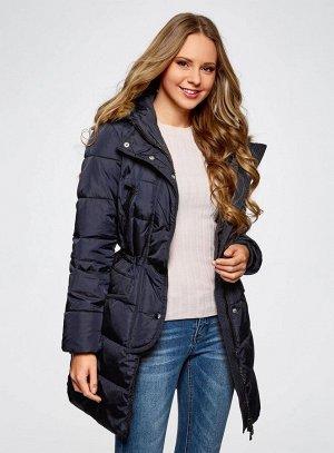 Куртка удлиненная с искусственным мехом на капюшоне
