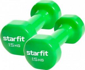 Гантель виниловая Core DB-101 1,5 кг, зеленый, 2 шт