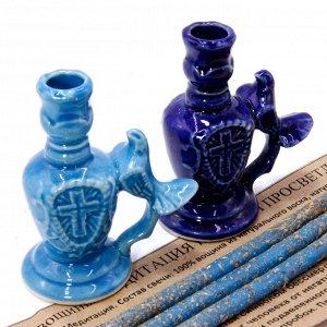 Набор 3 свечи с подсвечником МЕДИТАЦИЯ и РЕЛАКС с цветами лотоса голубые