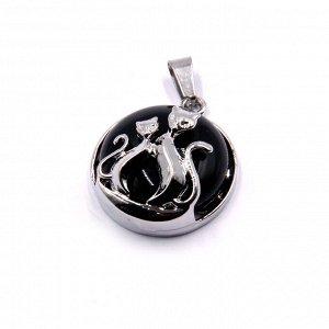 Подвеска с парой кошек Черный агат натур камень - исполнения желаний 2,5см