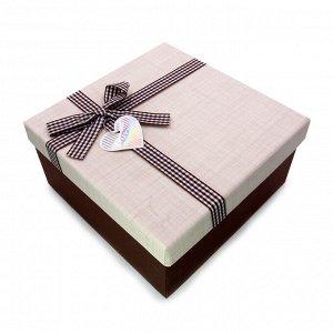 Коробочка МОЛОЧНЫЙ ШОКОЛАД Big подарочная с бантиком 19.5см-19.5см-9.5см