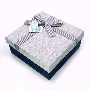 Коробочка СИНЯЯ мал подарочная с бантиком 15.5см-15.5см-6,5см