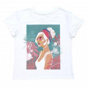 Футболка Стильная футболка для девочек. Принт на спине. Материал:  100% хлопок, кулирка пенье