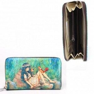 Кошелек женский искусственная кожа Cossni-901,  на молнии  (нат/кожа внутри),  6отд,  7карм,  зеленый 236637
