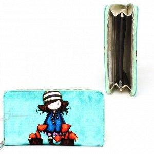 Кошелек женский искусственная кожа Cossni-900,  на молнии  (нат/кожа внутри),  5отд,  12карм,  голубой 236635