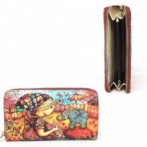 Кошелек женский искусственная кожа Cossni-900,  на молнии  (нат/кожа внутри),  5отд,  12карм,  мультиколор 236633