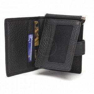 Зажим для денег НТ-1-168-27 с карманом д/мелочи на молн,  черный 236705