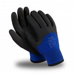 Перчатки ЮНИТ ОЙЛ (ТРВ-102), акрил, нейлон, ПВХ 3/4, оверлок, цвет черно-синий