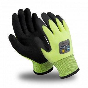 Перчатки ЮНИТ ХАЙ ВИЗ (TNНА-33), акрил, нейлон, ПВХ частичный, оверлок, цвет черно-салатовый