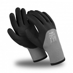 Перчатки ВИНТЕР ХИМ (ТРВ-101), акрил, нейлон, ПВХ сплошной, тесьма, цвет черно-серый