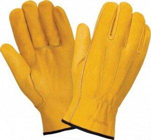 Перчатки ДРАЙВЕР К, (RL6/0140), кожа класс А+, без подкладки, резинка для удерживания