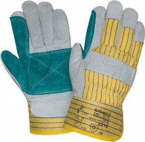 Перчатки ДОКЕР ЗИМА, (0210), спилок, х/б, искуственный мех, усиленный наладонник, жесткий манжет