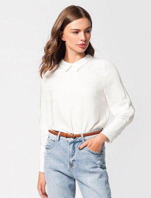 Блузка  с высоким манжетом из вискозы в рубчик