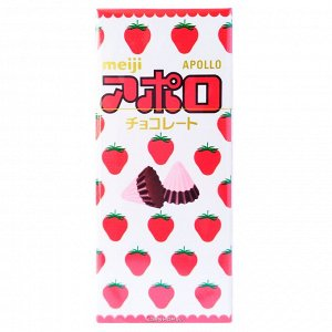 MEIJI Шоколадные конфеты APOLLO с натуральной клубникой, 48 гр
